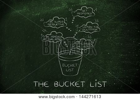 Bucket List With Employee's Career Goals, Thought Bubbles