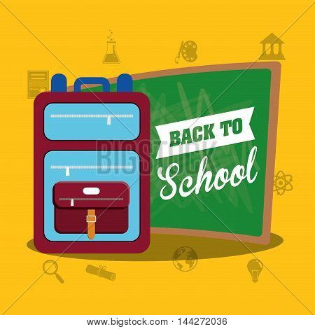 bag board back to shool education icon set. Colorful and flat design. Vector illustration