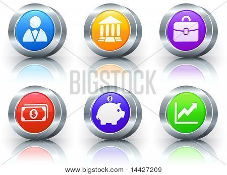 Economy Icons on Reflective Button with Metallic Rim Collection Original Illustration