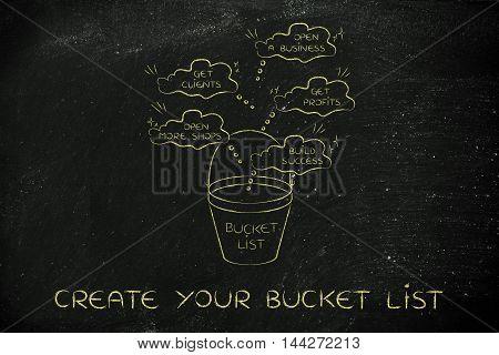 Bucket List With Entrepreneur's Business Success Goals, Thought Bubbles