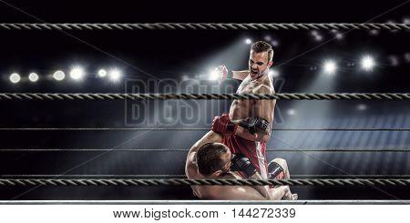 Professional box match . Mixed media