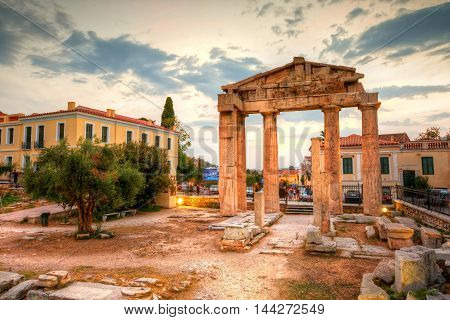 Remains of the Gate of Athena Archegetis and Roman Agora in Athens, Greece. HDR image