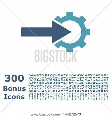 Cog Integration icon with 300 bonus icons. Vector illustration style is flat iconic bicolor symbols, cyan and blue colors, white background.