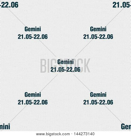 Gemini Sign. Seamless Pattern With Geometric Texture. Vector
