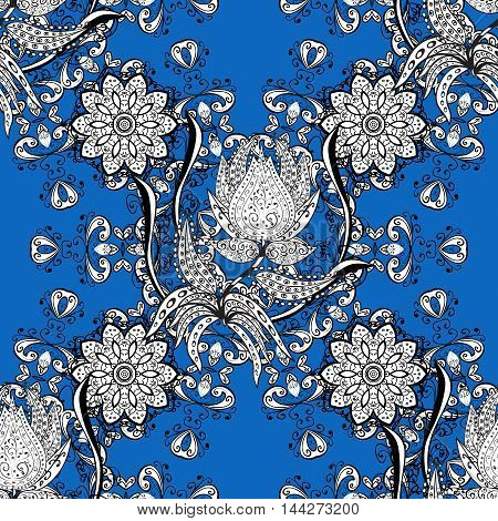 Oriental seamless pattern of white flowers and mandalas. Vector blue background.