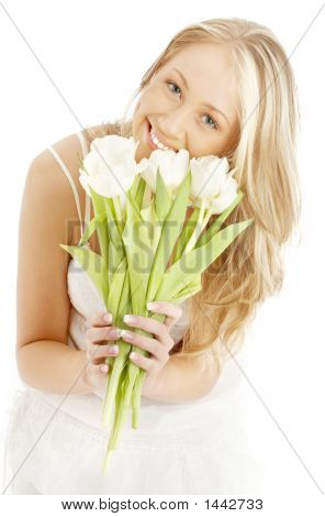 Happy Blond With White Tulips #2