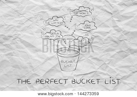 Bucket List Of Lifestyle Dreams To Accomplish, Thought Bubbles