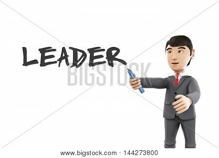 3d Illustration. Businessman with a marker and word leader. Business concept. Isolated white background.
