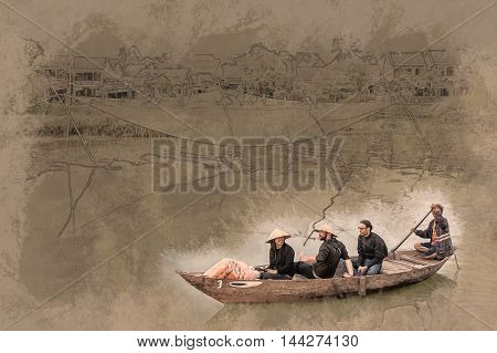 A group of tourists in a traditional vietnamese boat pass by a fishing net in Hoi An, Vietnam. Vintage painting, background illustration, beautiful picture, travel texture.