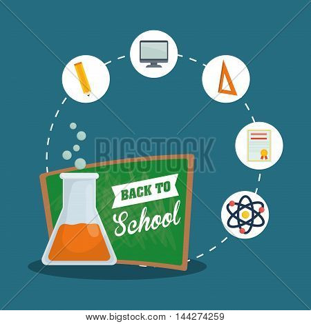 pencil computer flask diploma atom back to shool education  icon set. Colorful and flat design. Vector illustration