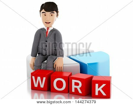 3d renderer image. Businessman sitting on a info graph and the word work. Business concept. Isolated white background.