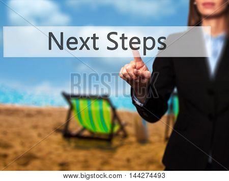 Next Steps - Businesswoman Pressing Modern  Buttons On A Virtual Screen
