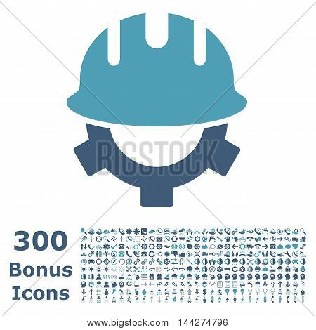 Development Helmet icon with 300 bonus icons. Vector illustration style is flat iconic bicolor symbols, cyan and blue colors, white background.