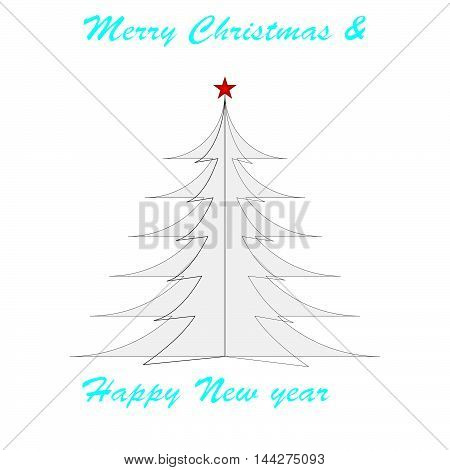Beautiful greeting card for new year and Christmas. Christmas tree with a star.