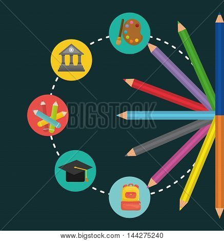 paint building colors cap bag back to shool education  icon set. Colorful and flat design. Vector illustration