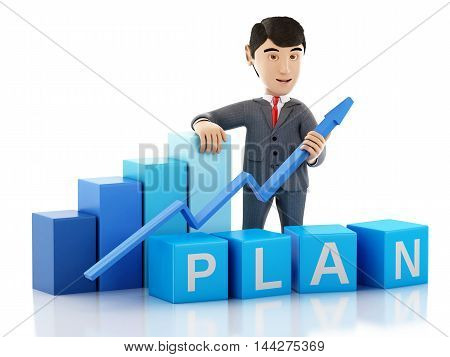 3d Illustration. Businessman with growth graph and word plan. Business concept. Isolated white background.