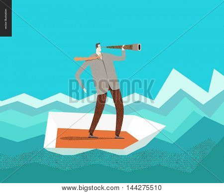 Businessman with a telescope in a boat. Flat vector concept cartoon illustration of a man wearing suit, looking through the telescope, standing in a small boat, surrounded by sharp waves, like graph.