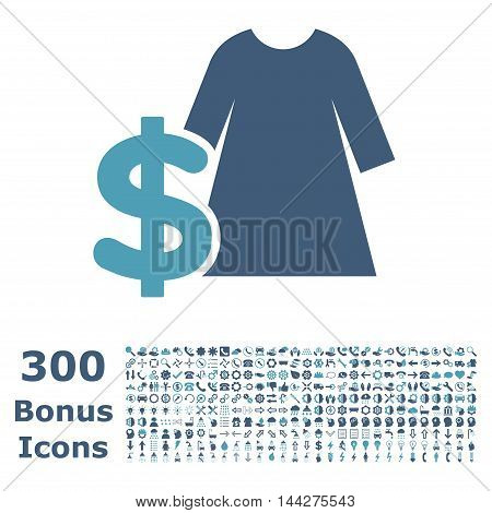 Dress Price icon with 300 bonus icons. Vector illustration style is flat iconic bicolor symbols, cyan and blue colors, white background.