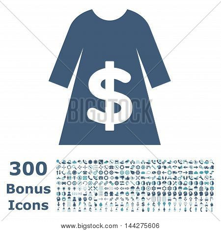 Dress Sale icon with 300 bonus icons. Vector illustration style is flat iconic bicolor symbols, cyan and blue colors, white background.