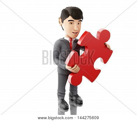 3d Illustration. Businessman with a piece of puzzle. Business concept. Isolated white background.