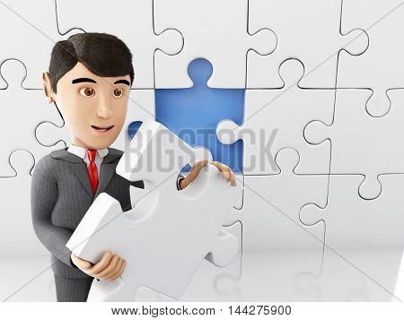 3d Illustration. Businessman with a piece of puzzle. Business and success concept. Isolated white background.