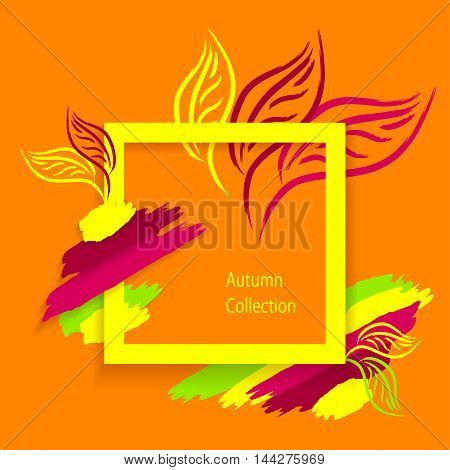 Trend Autumn Abstract background made by hand draw  brushes leaves on orange or concept autumn collection or flyer banner template or decoration package