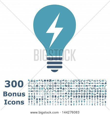 Electric Bulb icon with 300 bonus icons. Vector illustration style is flat iconic bicolor symbols, cyan and blue colors, white background.