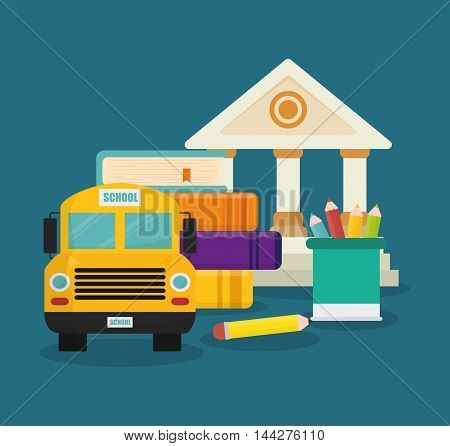 building bus book colors back to shool education  icon set. Colorful and flat design. Vector illustration
