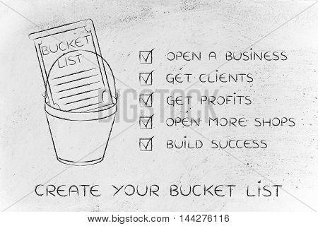 Bucket List With Entrepreneur's Business Success Goals