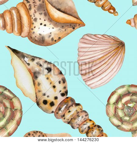 A seamless pattern with the isolated shells, painted in a watercolor on a blue background