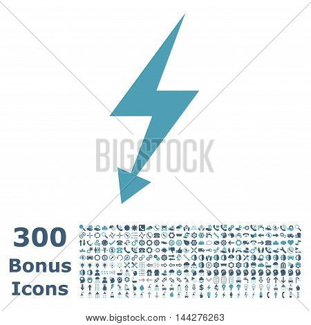 Electric Strike icon with 300 bonus icons. Vector illustration style is flat iconic bicolor symbols, cyan and blue colors, white background.