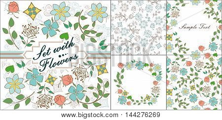 set of seamless backgrounds and frame with beautiful flowers.