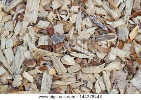 Wood chips chips are a natural material background pattern