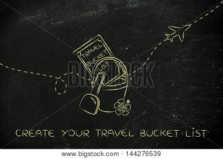 Bucket List Of Travel Destination, With Beach Toys And Airplane Flying