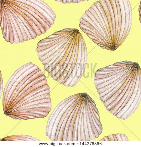 A seamless pattern with the isolated shells, painted in a watercolor on a yellow background