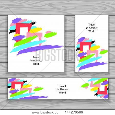 Set Trend Creative modern Abstract backgrounds made by hand draw  brushes full colors on white or concept travel in abstract world  illustration abstract windows clouds