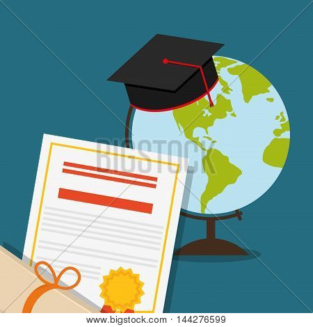 graduation cap planet sphere diploma back to shool education  icon set. Colorful and flat design. Vector illustration