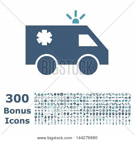 Emergency Car icon with 300 bonus icons. Vector illustration style is flat iconic bicolor symbols, cyan and blue colors, white background.