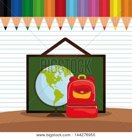 bag board planet colors back to shool education  icon set. Colorful and flat design. Vector illustration