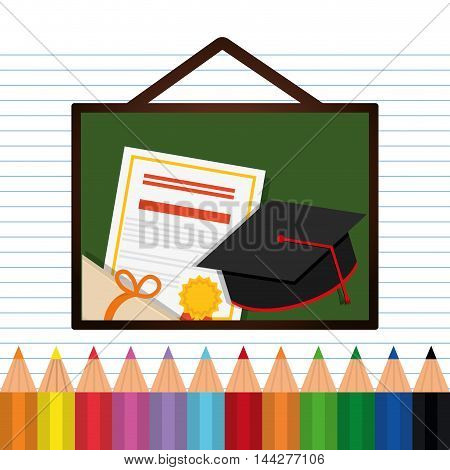 graduation cap diploma colors back to shool education  icon set. Colorful and flat design. Vector illustration