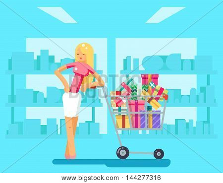 Shopping Girl shop cart purchase gift design character vector illustration