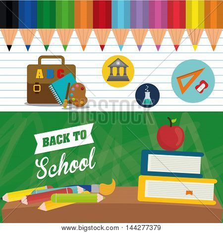 books apple colors brush suitcase back to shool education icon set. Colorful and flat design. Vector illustration