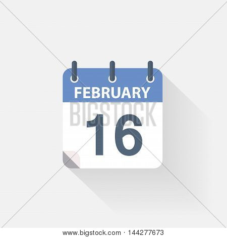 16 february calendar icon on grey background