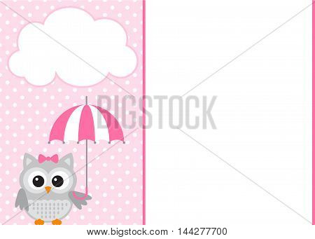 Vector baby owl pink template with polka dot background