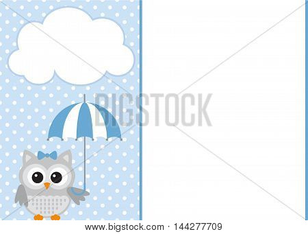 Vector baby owl blue template with polka dot background