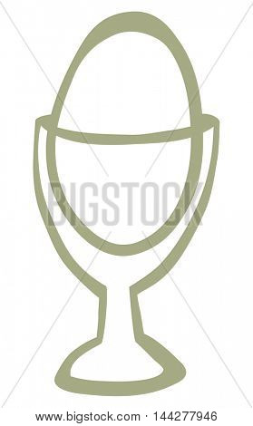 Transparent Egg cup with boiled egg. Vector drawing