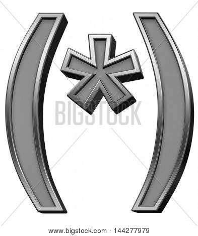 Parenthesis, asterisk from gray with silver frame alphabet set, isolated on white. 3D illustration.