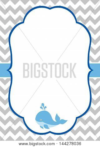 Vector baby boy invitation card with baby whale and chevron background