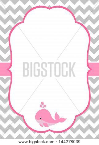 Vector baby girl invitation card with baby whale and chevron background
