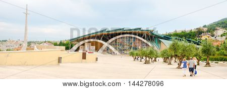 San Giovanni Rotondo Italy 28 July 2016: the modern exterior of the new church designed from the famous architect Renzo Piano